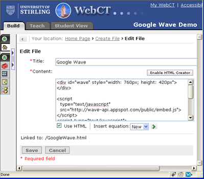 Content editing in WebCT