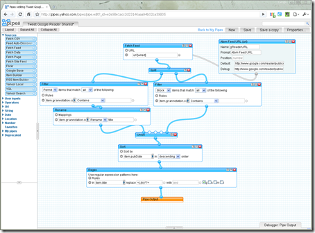 Yahoo Pipe Screenshot
