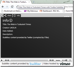 97%* of desktop web browsers can now enjoy iTitle Twitter Subtitling - Vimeo edition