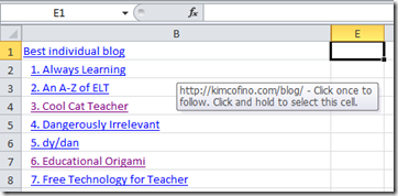 Excel Spreadsheet of 2010 Edublog award nominations