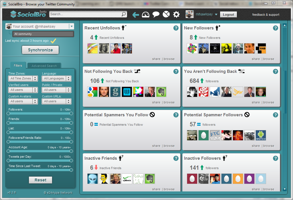 Twitter network analysis and visualisation I: SocialBro