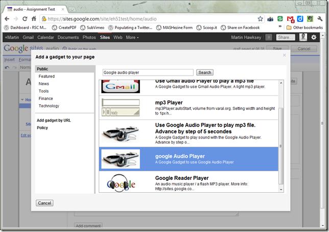 Select google Audio Player