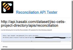 Kasabi - Reconciliation url