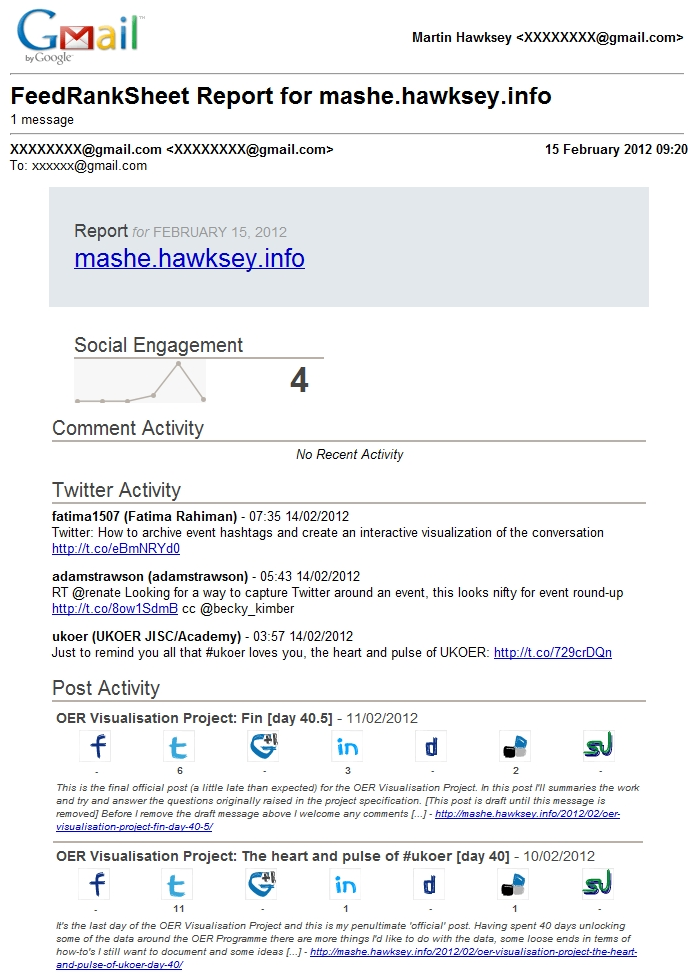 Introducing a RSS social engagement tracker in Google Apps Script #dev8d