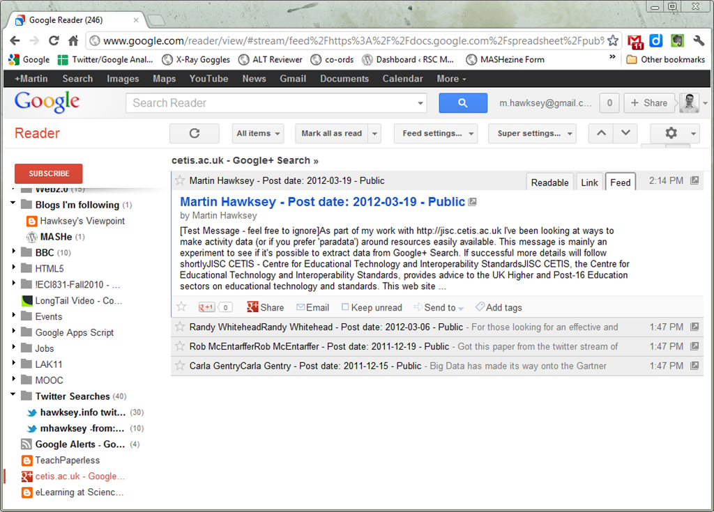 Turning Google+ Search results into a RSS feed (for Google Reader ...