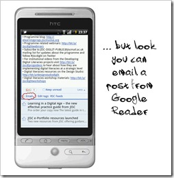 Send email from Google Reader Mobile