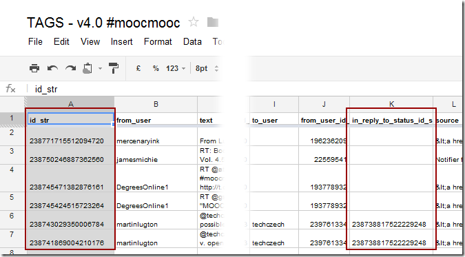 First look at analysing threaded Twitter discussions from large archives using NodeXL #moocmooc