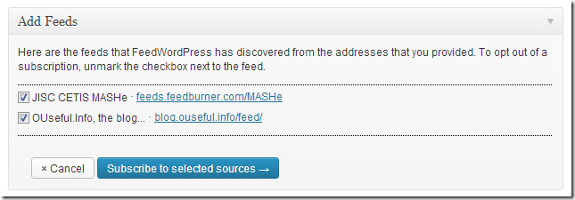 Registering blog addresses and generating a OPML file (Notes on FeedWordPress and MOOC-In-a-Box)
