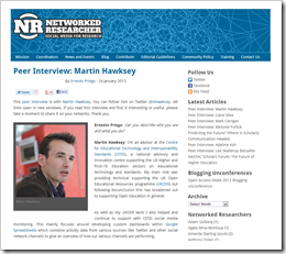 Peer Interview: Martin Hawksey on Networked Researcher
