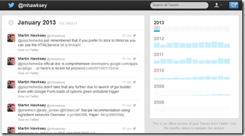 Twitter Archive interface