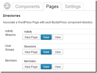 BuddyPress settings page