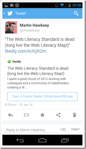 Feedly Twitter App Card