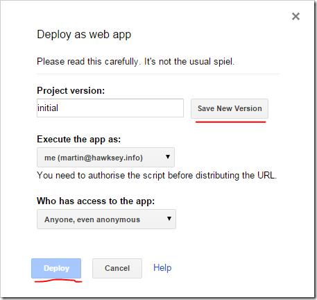 Deploy as web app