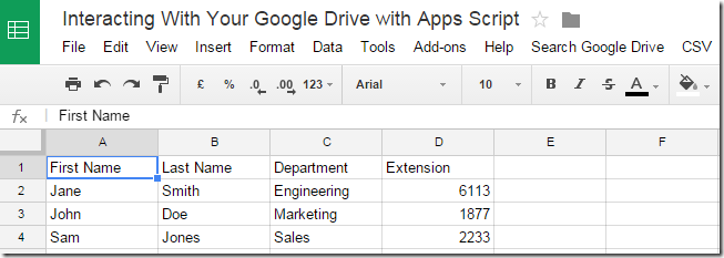 Test data in Google Sheet