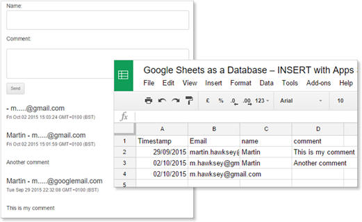 comment data returned from Google Sheet