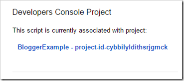 Open associated Google Developers Console project