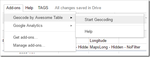 Add-ons > Geocode by Awesome Table > Start Geocoding