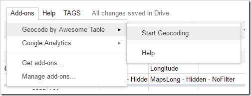 Add-ons > Geocode by Awesome Table > Start Geocoding