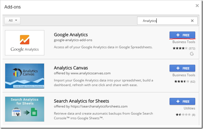 Add-ons > Get add-ons… and search for 'analytics'