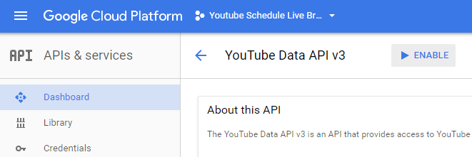 Enabling YouTube Data API