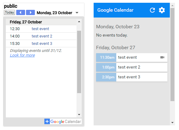 Existing calendar widget on the left and the ported Chrome Extension on the right