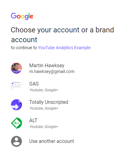 Selecting the YouTube account to get data for