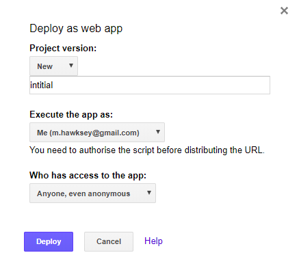 Publish > Deploy as web app