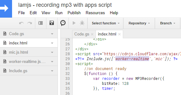 Recording .mp3 audio in Google Add-ons/Google Apps Script to Google Drive
