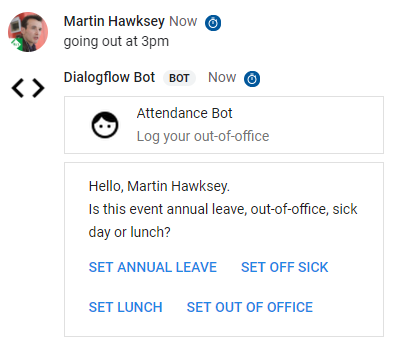 Introduction to building conversational interfaces with Dialogflow in Google Apps Script powered Google Hangouts Chat bots
