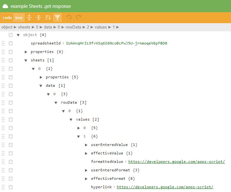 Example JSON response