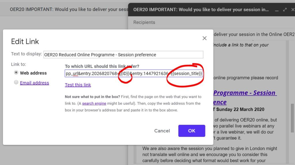 Example Gmail mail merge pre-filled Google Form url with column tokens